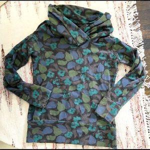 PATAGONIA green leaf cowl neck fleece sweatshirt